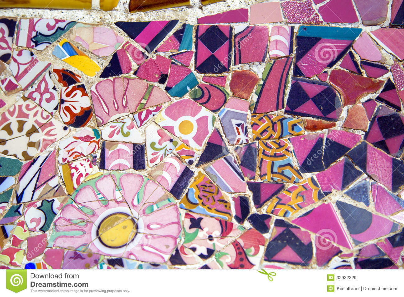 Floral Mosaic In Park Guell Barcelona Spain Stock Image