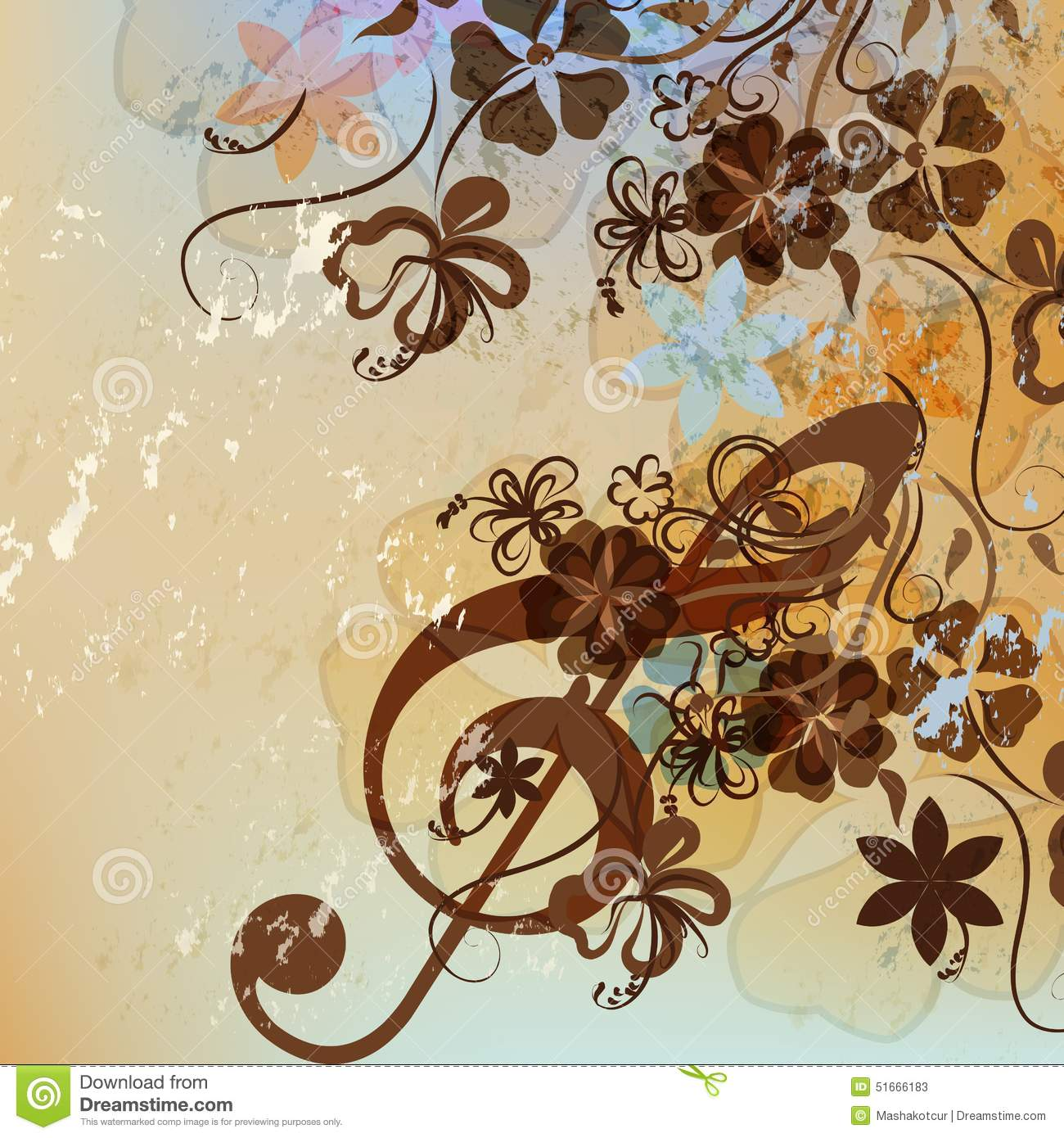 Floral Music Background With Treble Clef Stock Vector