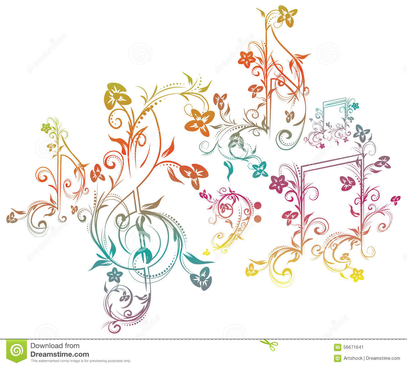 Floral Music Notes Stock Vector. Illustration Of Crotchets