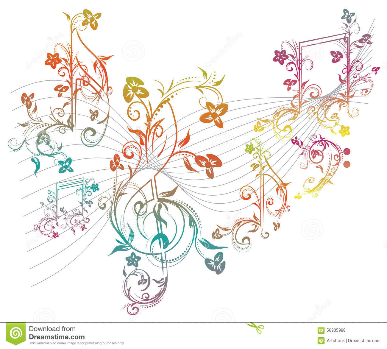 Floral Music Notes Stock Vector. Illustration Of Quaver