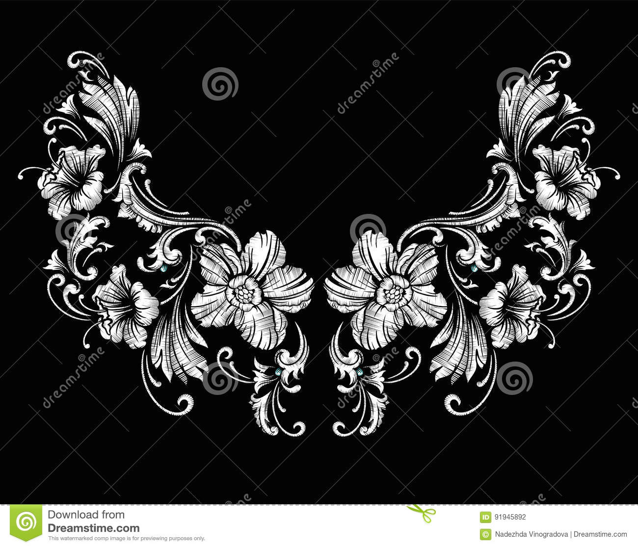 floral neck embroidery design in baroque style stock vector image 91945892. Black Bedroom Furniture Sets. Home Design Ideas