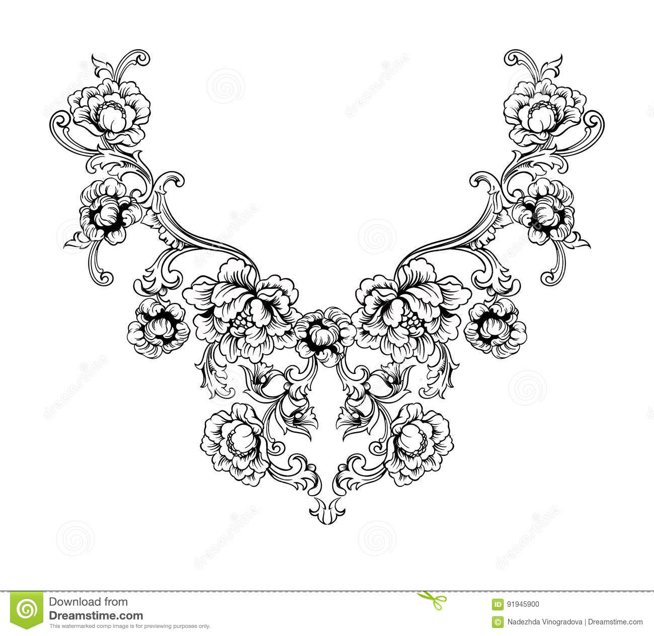 Floral Neck Embroidery Design In Baroque Style. Stock Vector ...