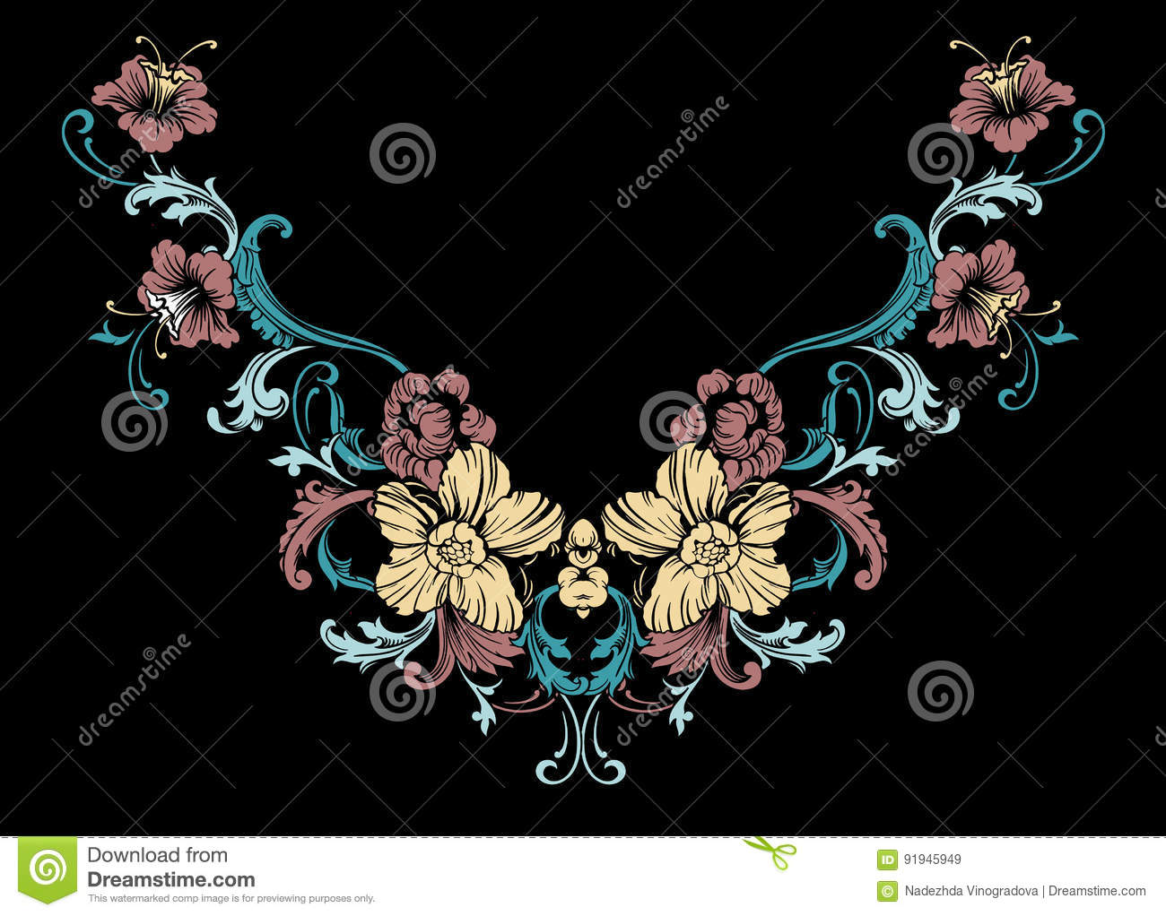 Floral neck embroidery design in baroque style vector for Baroque fashion design
