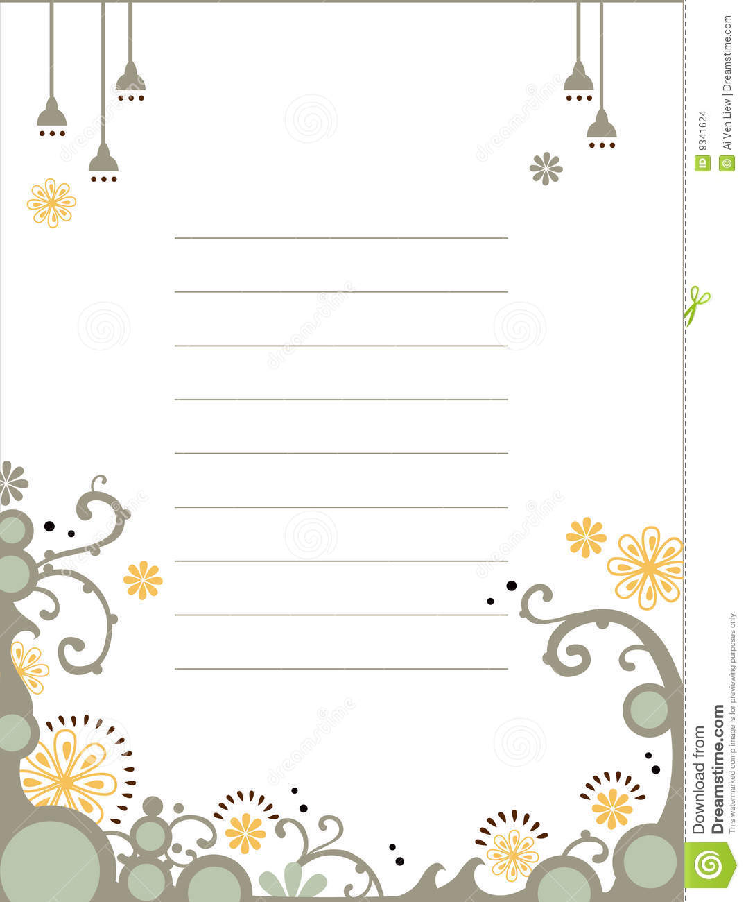 Floral Notebook Template Stock Images - Image: 9341624