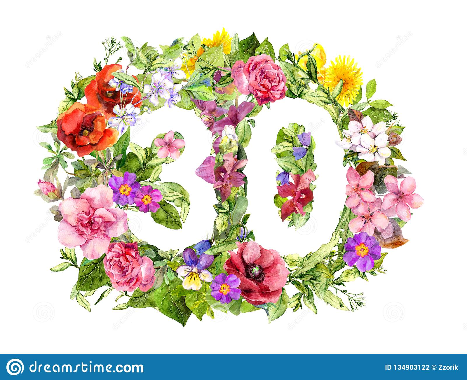 Floral Number 30 Thirty From Wild Flowers And Meadow Grass ...