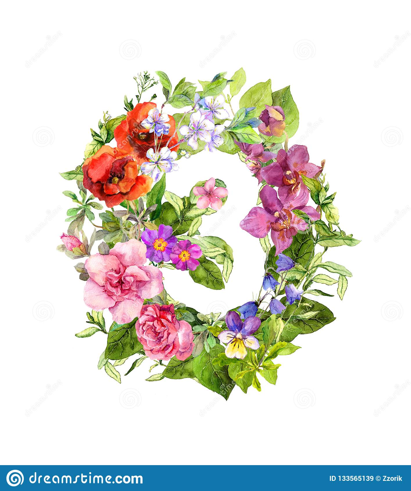 Floral Number 3 - Three From Flowers  Watercolor Illustration Stock Illustration