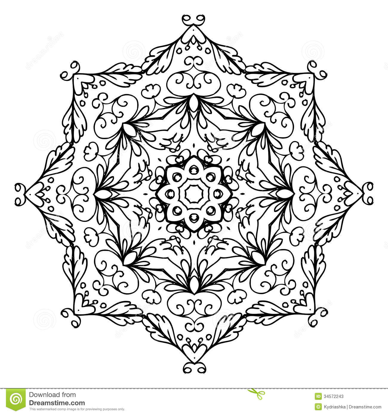 Floral Ornament Arabesque Hand Drawn Sketch For Stock