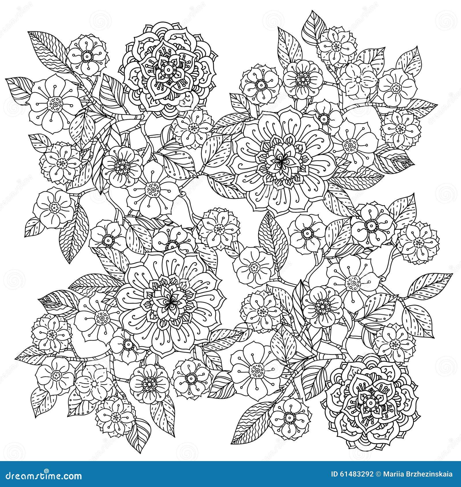 Floral Ornament Art Of Mandala Style Zentangle Stock