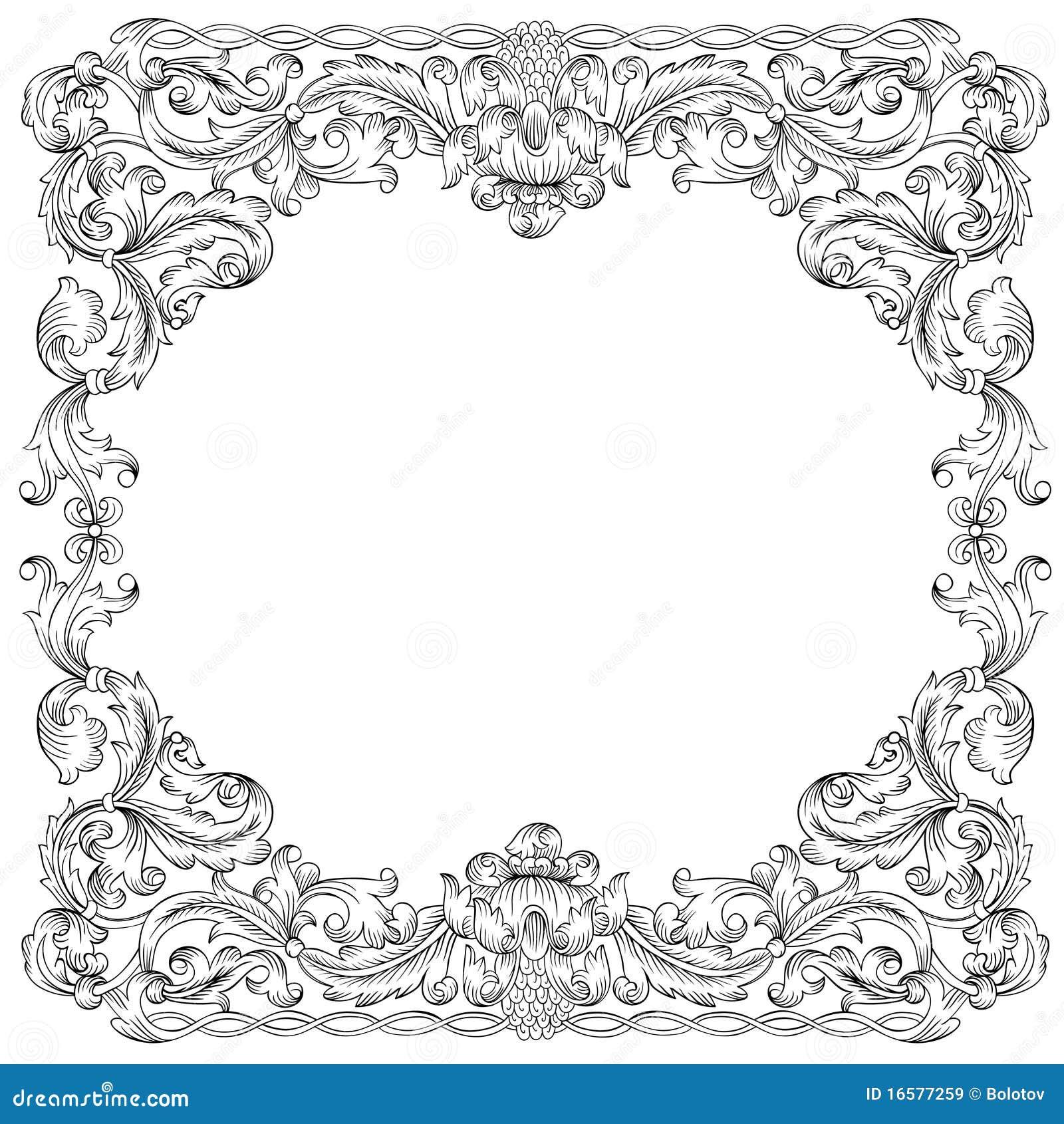 floral ornament frame simulates engraving