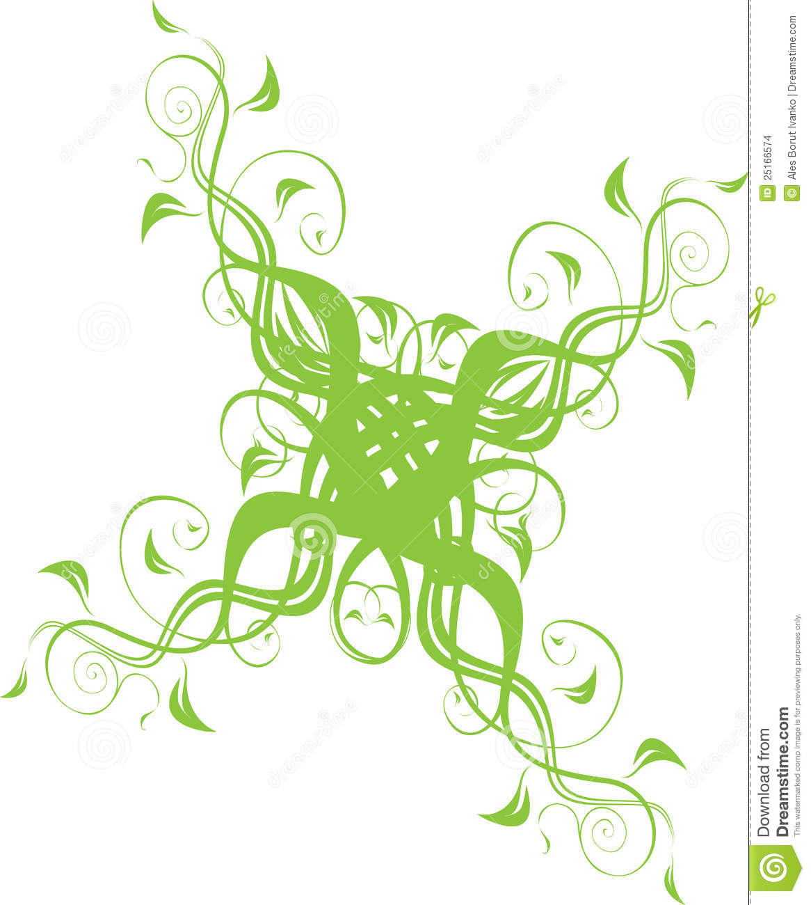 Floral ornament in green