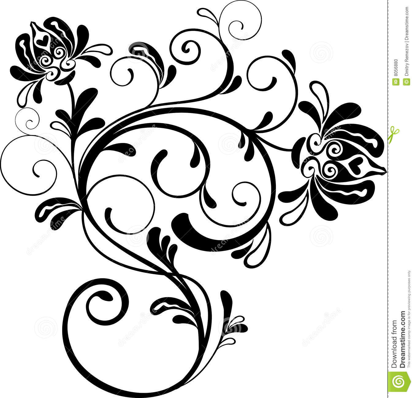 floral ornament vector stock vector image of outline