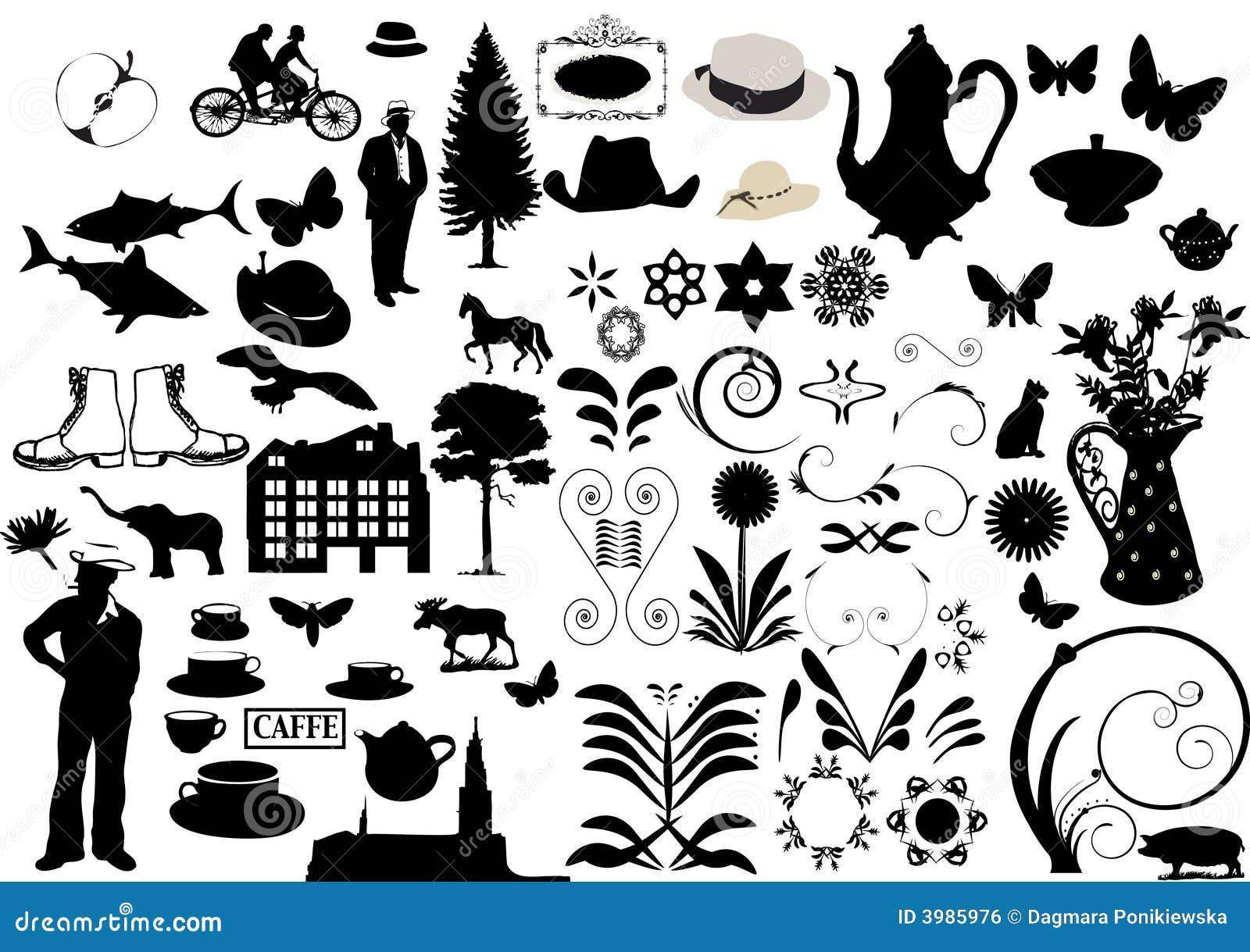 floral ornaments elements for design stock illustration