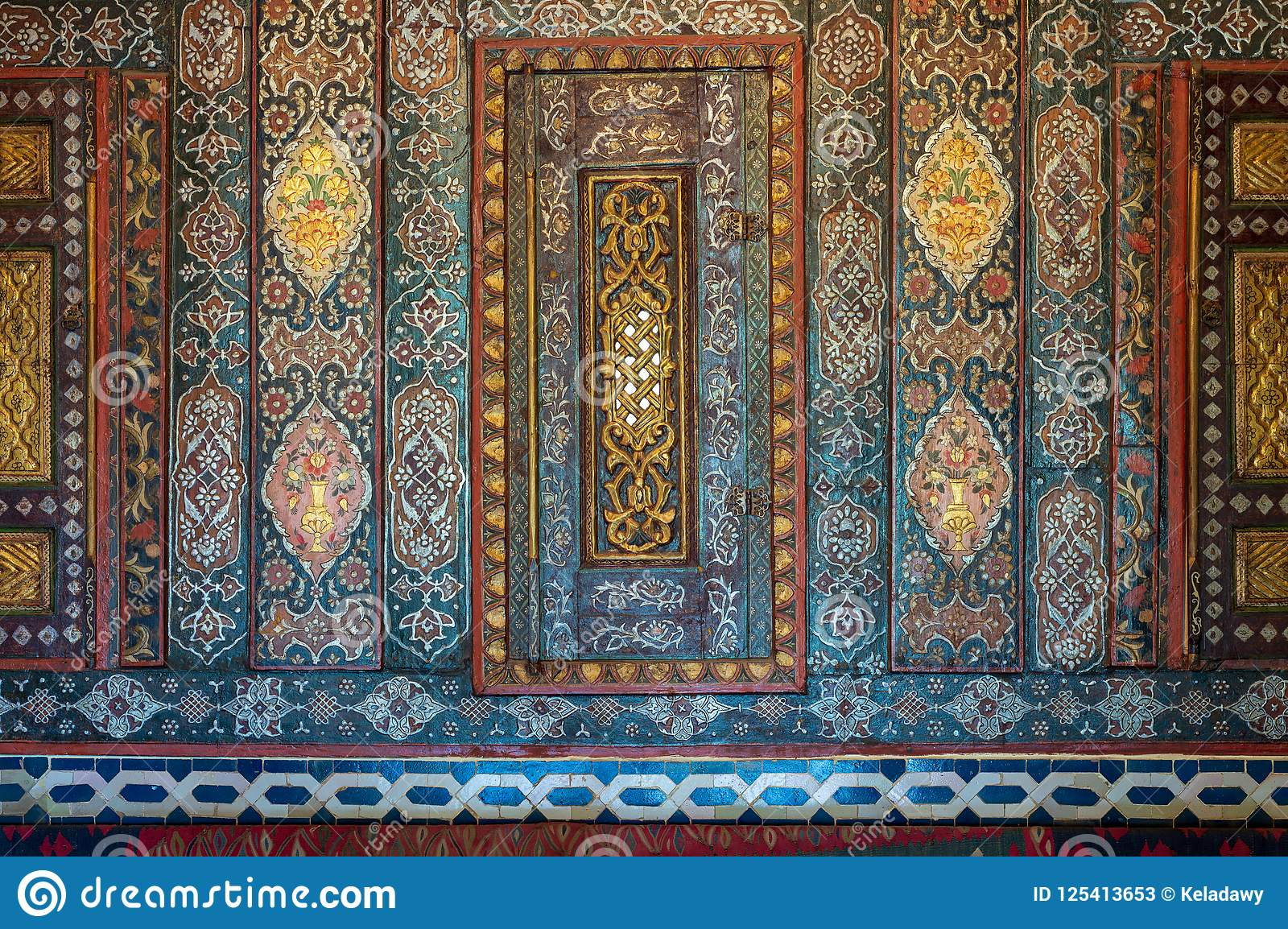 Floral ornaments of wooden embedded cupboards painted with colored geometrical patterns, Cairo, Egypt