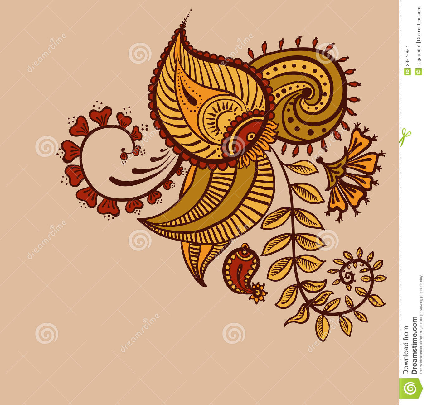Paisley Flowers Henna Tattoo Design: Floral Paisley Design Stock Vector. Illustration Of Lace