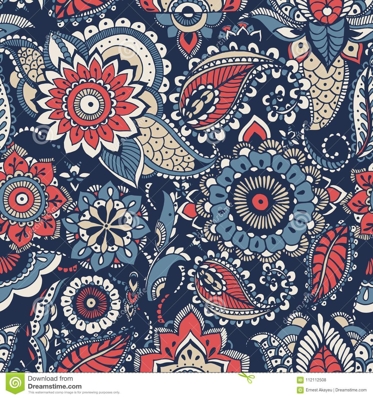 Floral paisley seamless pattern with colorful folk oriental motifs or mehndi elements on blue background. Motley