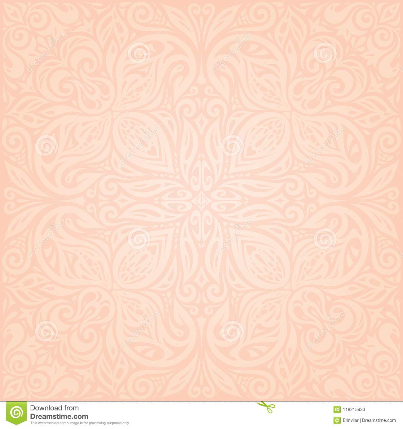 Floral Pale Ecru Vector Pattern Wallpaper Mandala Design In Trendy Fashion Vintage Style