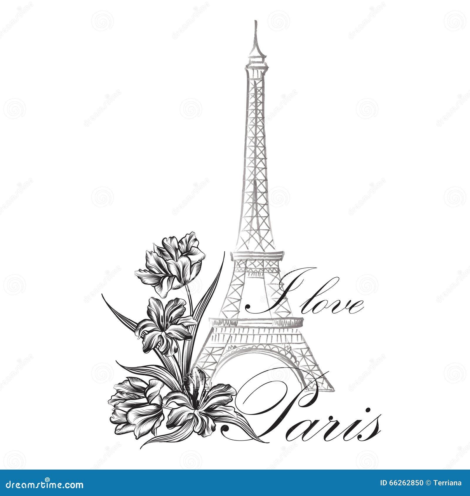 Paris Illustration: Floral Paris Illustration Famous Paris Landmark Eiffil