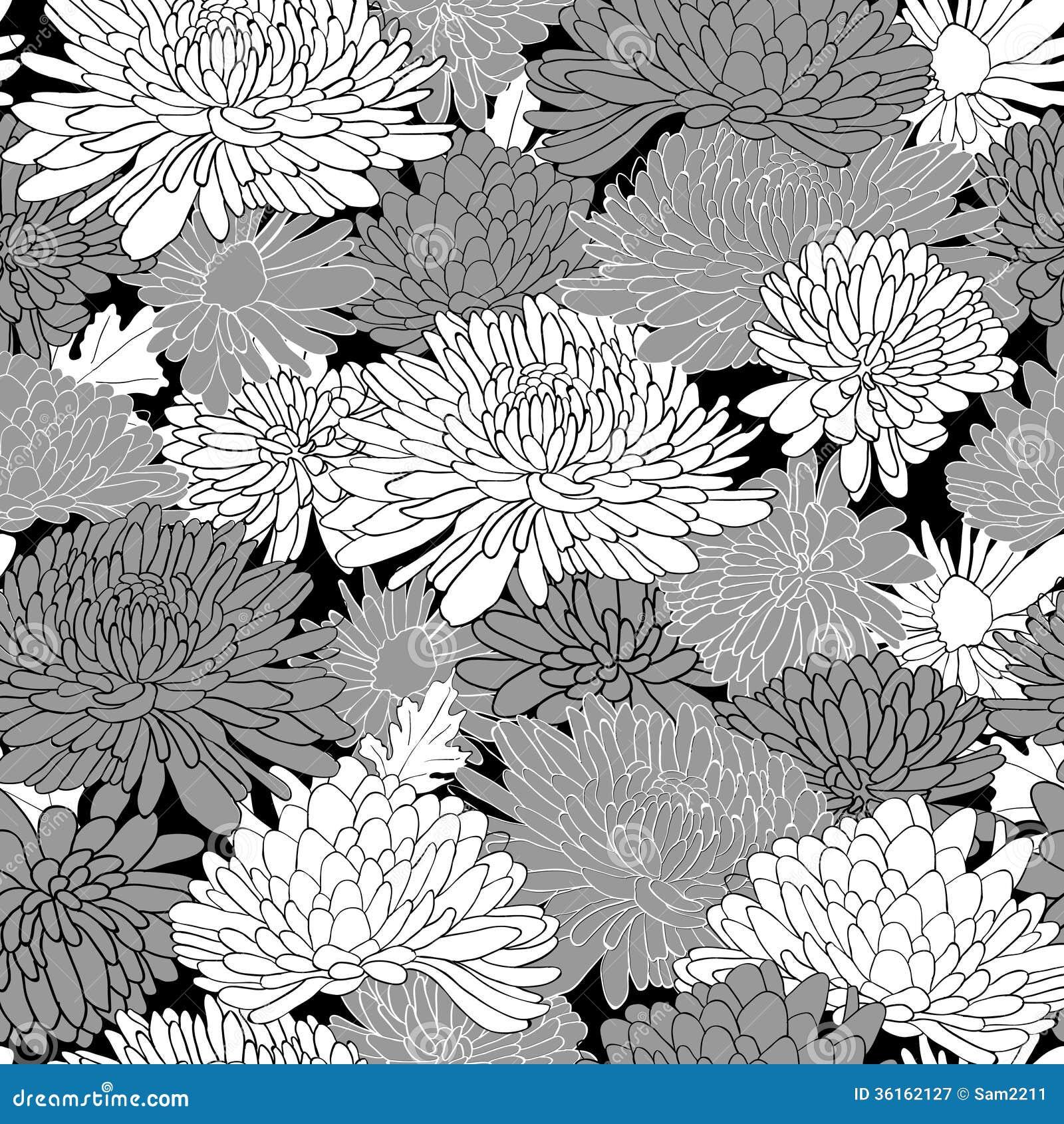 Pink floral seamless vector background floral hrysanthemum seamless - Background Chrysanthemum Floral Illustration