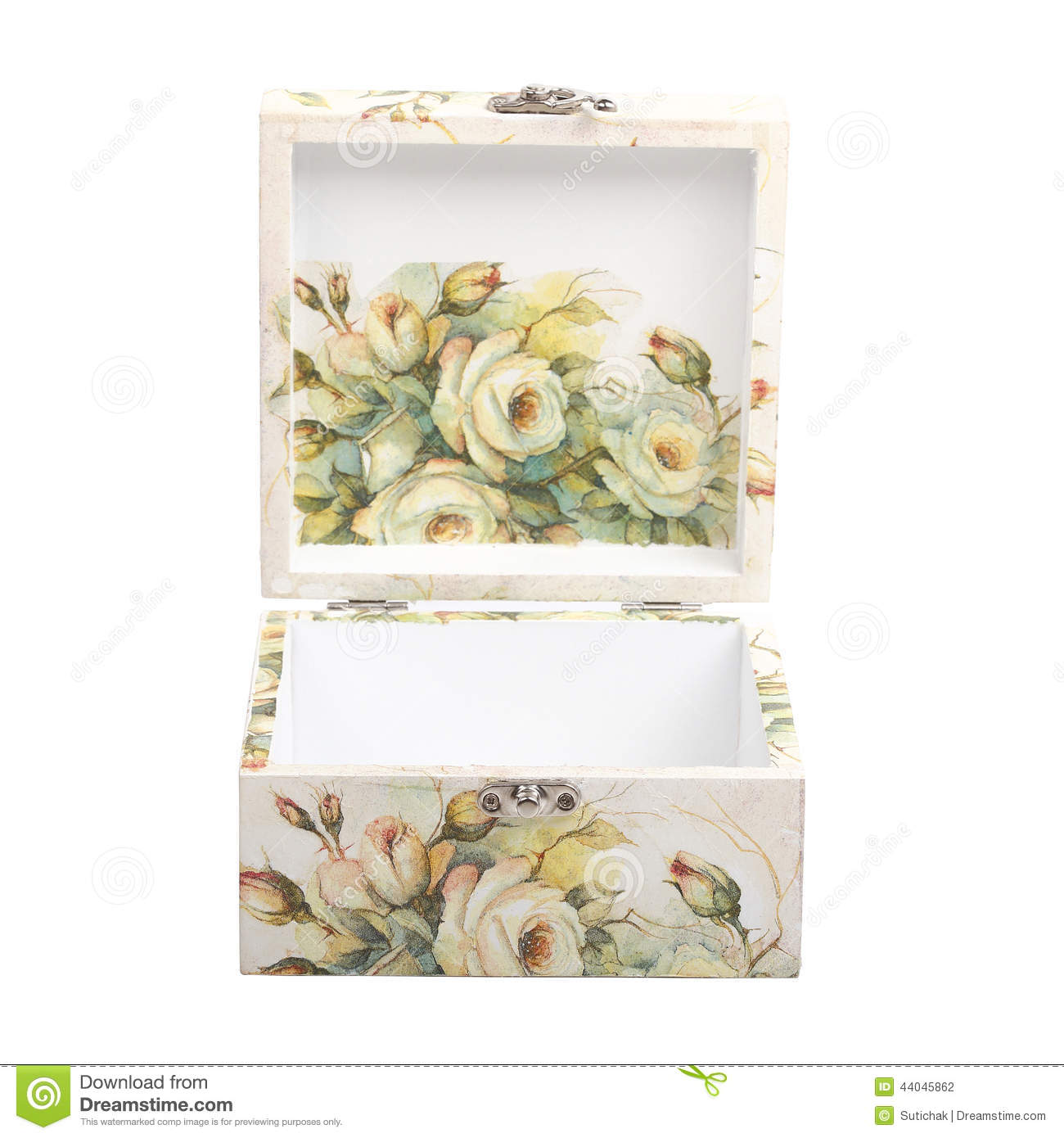 Floral Pattern Box Decorated With Decoupage Paper Stock Photo