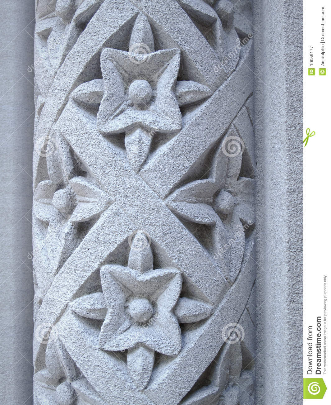 Floral pattern carved into a stone pillar stock image image of