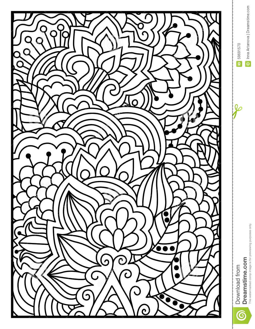 Floral Pattern For Coloring Book Stock Vector Image