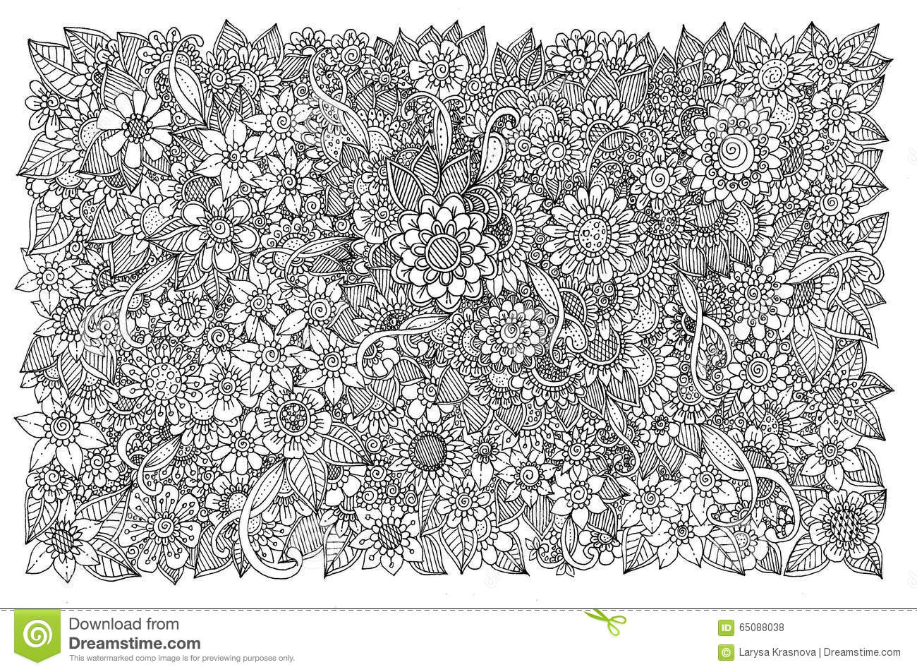 Floral Pattern For Coloring Book Retro Doodle Design Element Black And White Background Zentangle Original Line Art Style