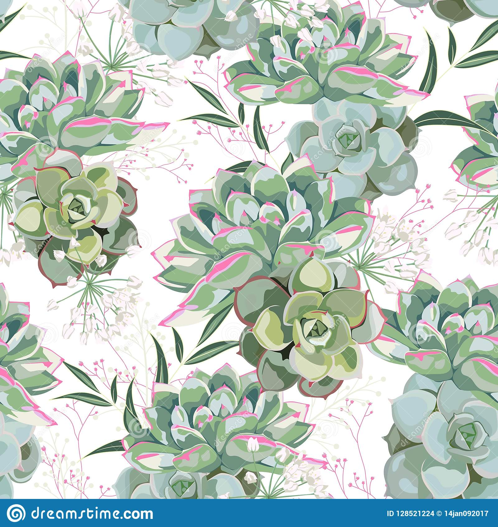 Floral Pattern Delicate Flower Wallpaper White Herbs And Green