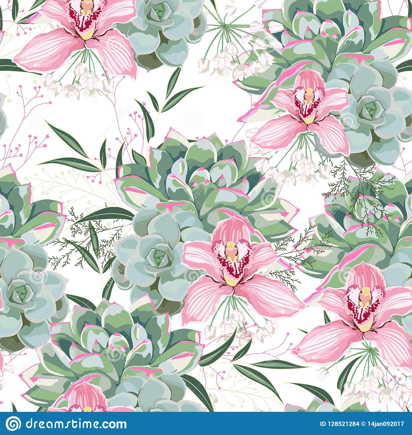 Floral Pattern Delicate Flower Wallpaper White Herbs Pink Orchid