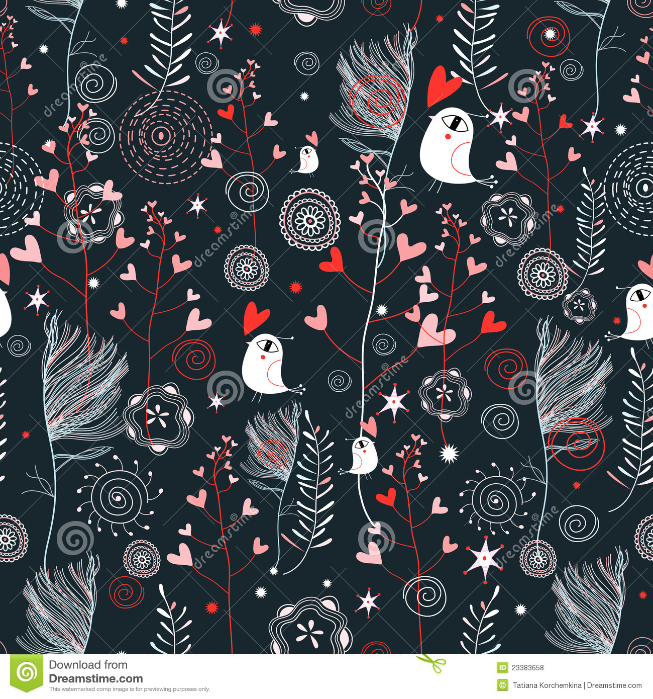 Floral pattern with hearts