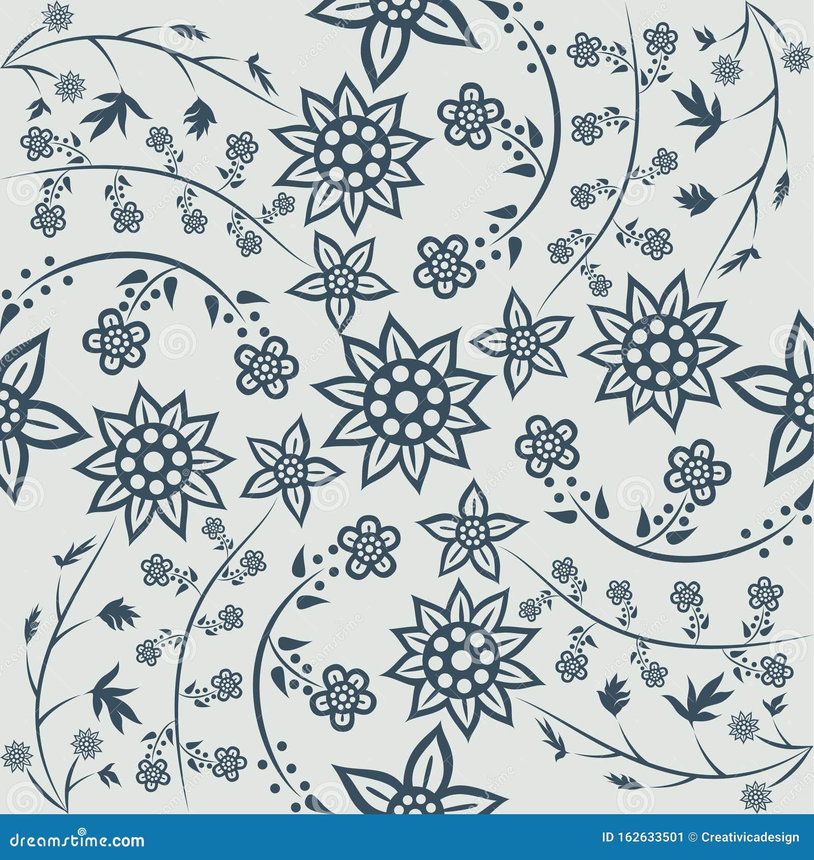 Floral Pattern Javanese Batik Style Vektor Illustrationer