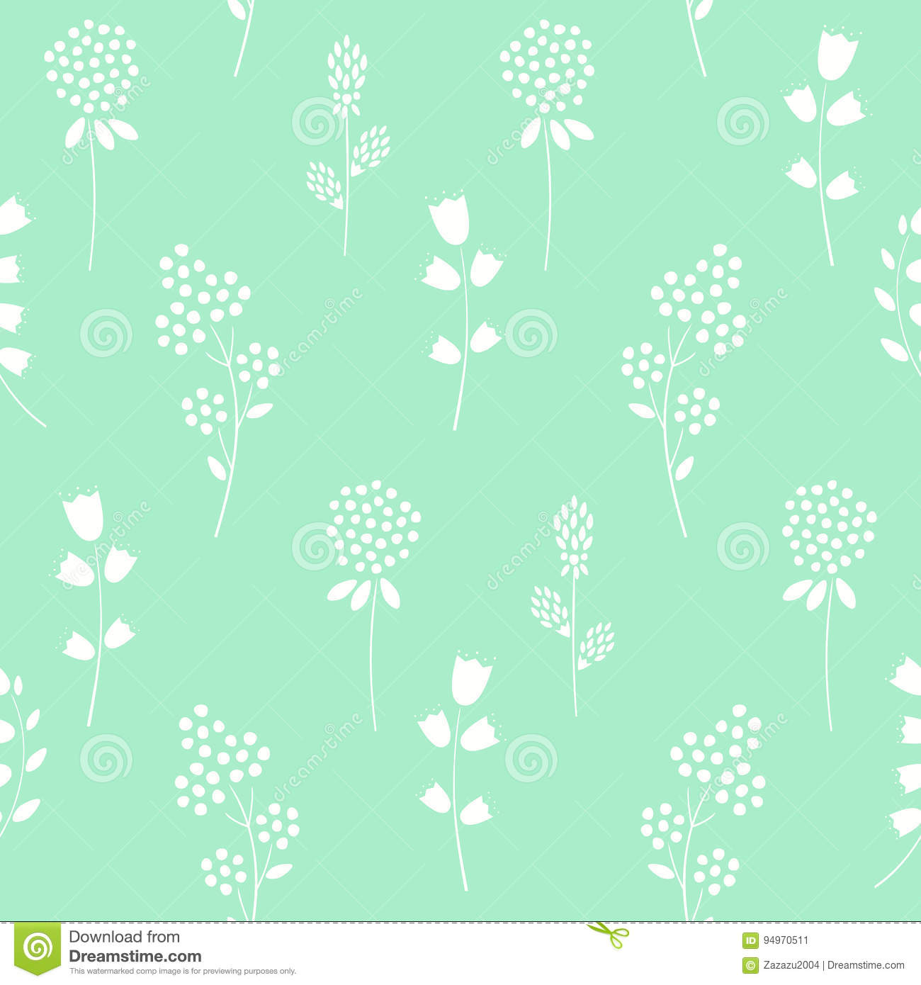 floral pattern on mint green background stock vector
