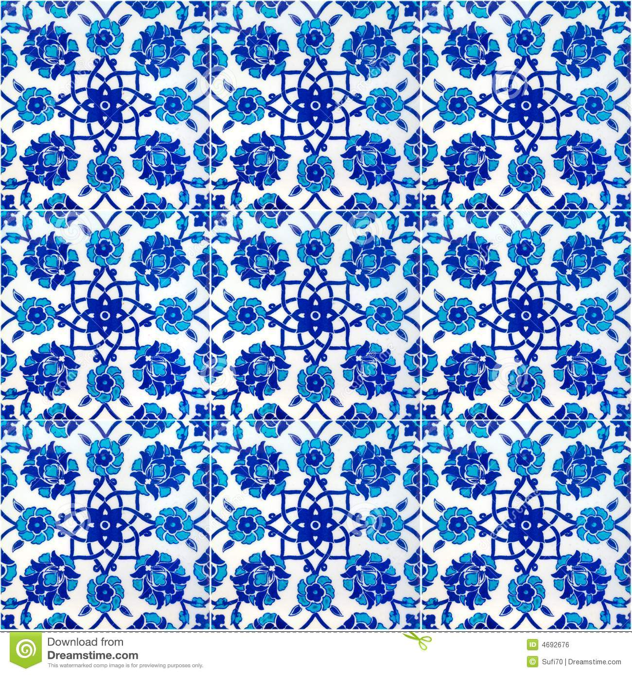 Floral Pattern On Old Turkish Tiles Istanbul Royalty Free