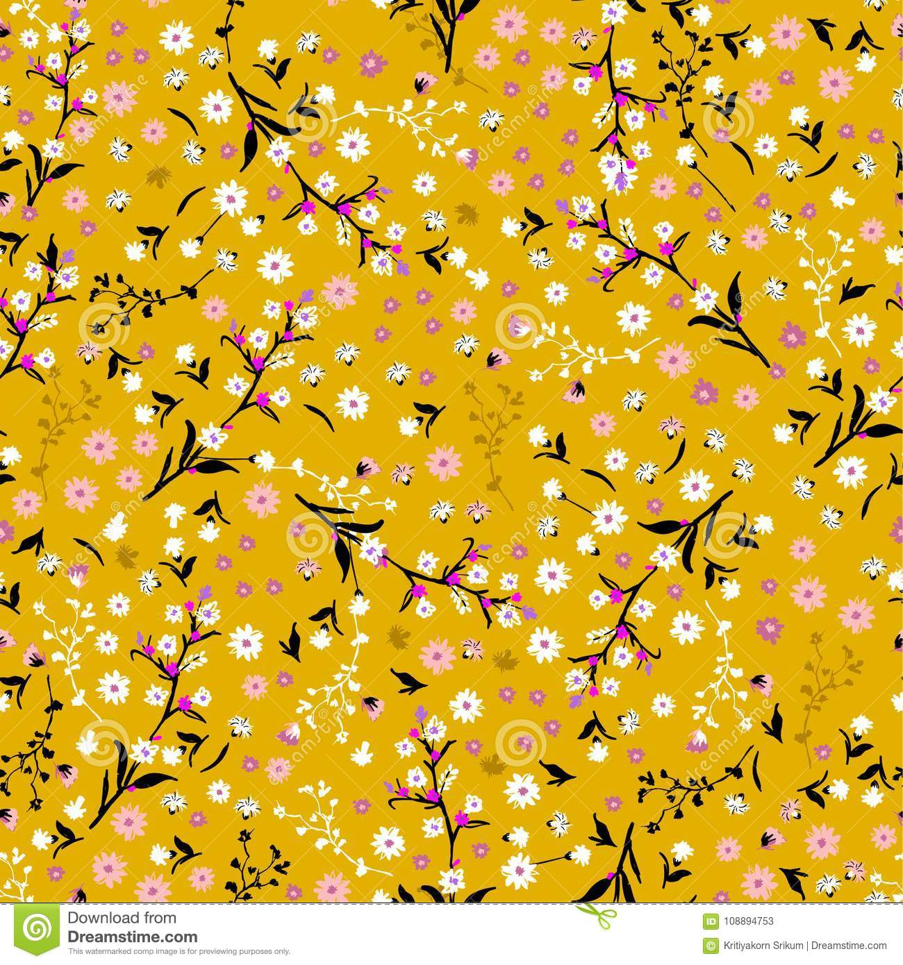 Floral pattern pretty flowers on vintage yellow background in l pretty flowers on vintage yellow background in l stock vector illustration mightylinksfo