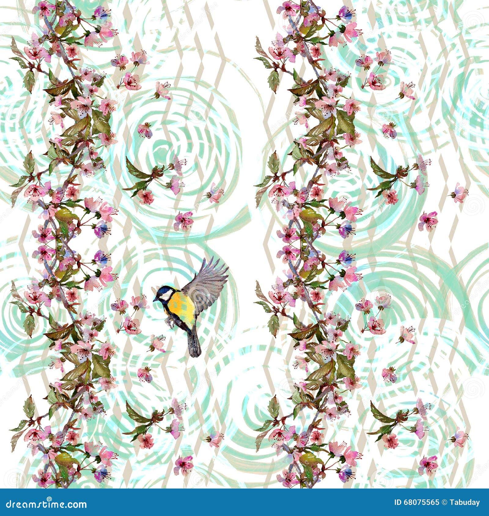 Floral Pattern Sakura And Bird On Chevron Ornament Stock Image