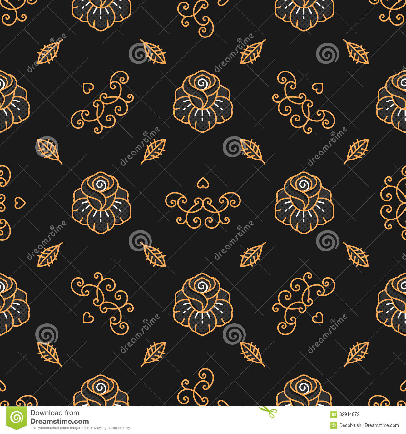 Floral Pattern Seamless Golden Rose Linear Icons Trendy Hipster