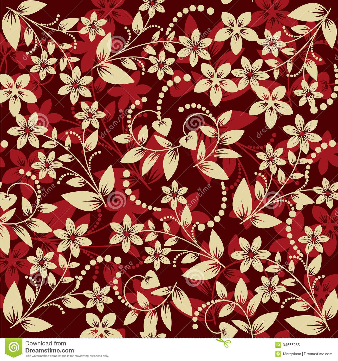 Floral Pattern Seamless On Red Background Royalty Free