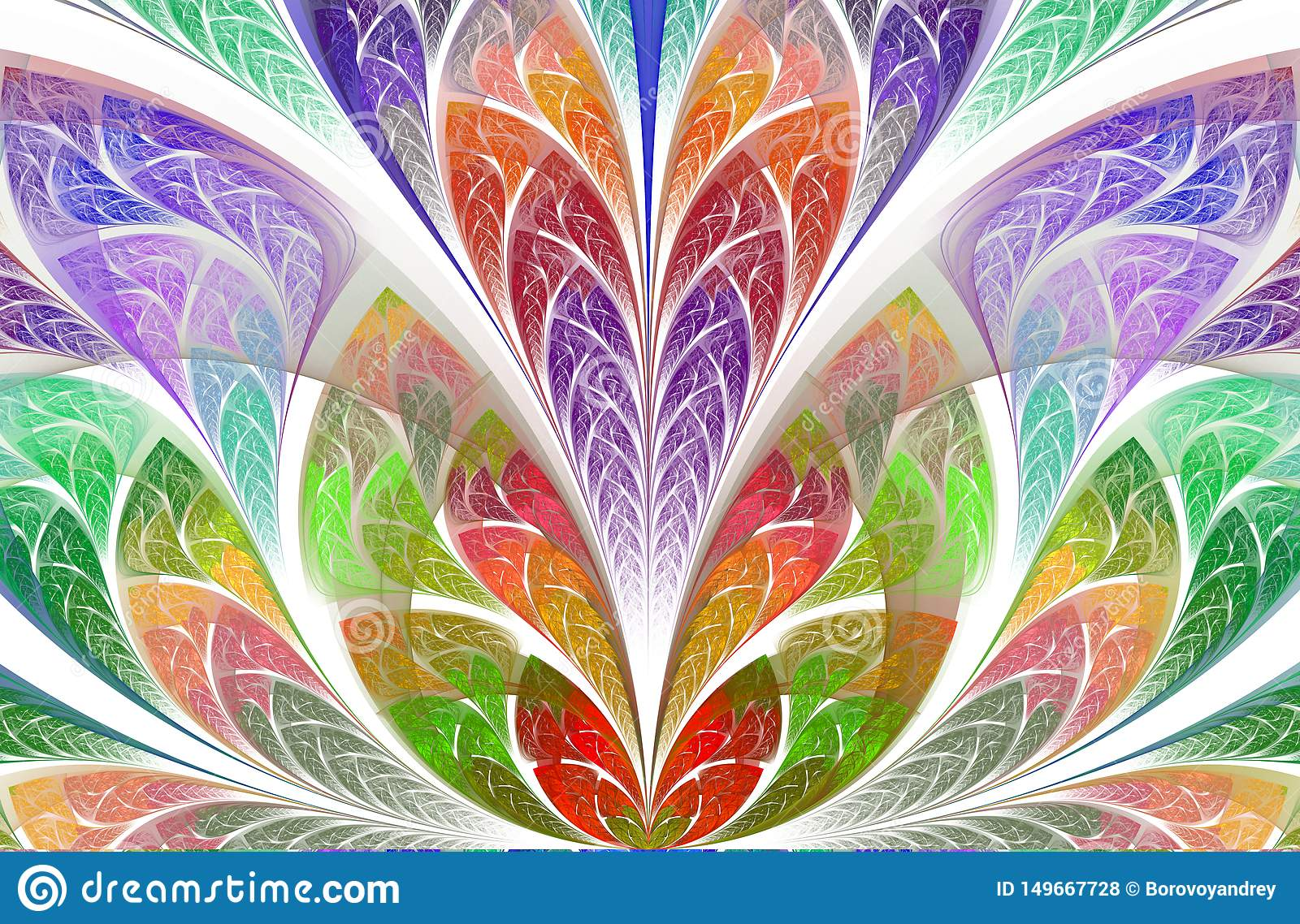 Symmetrical And Magic Floral Fractal Pattern Beautiful Flower In Multicolor Palette Stock Illustration Illustration Of Line Fabulous 149667728