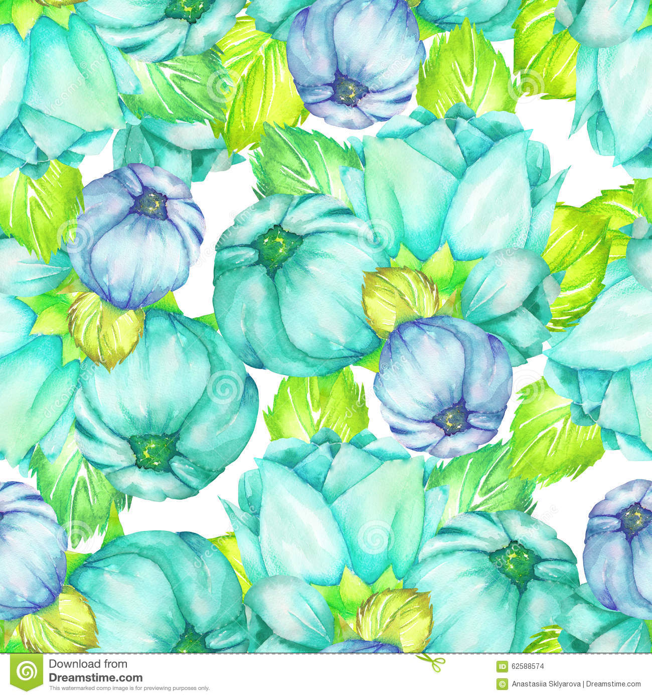 Floral Pattern With The Turquoise And Blue Beautiful Flowers Painted
