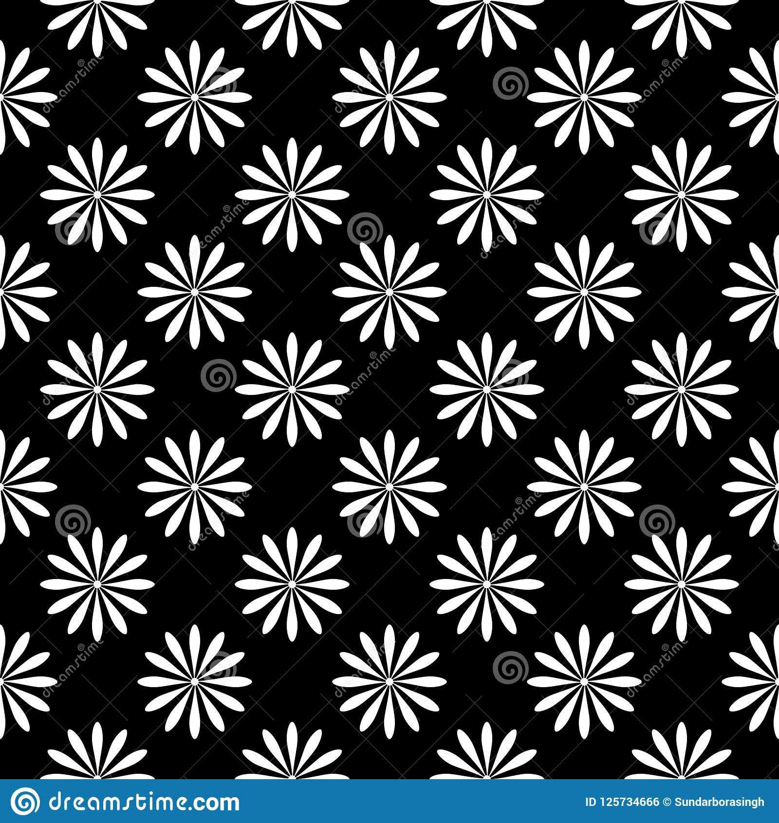 Flower Pattern Black And White Seamless Floral Pattern Geometric