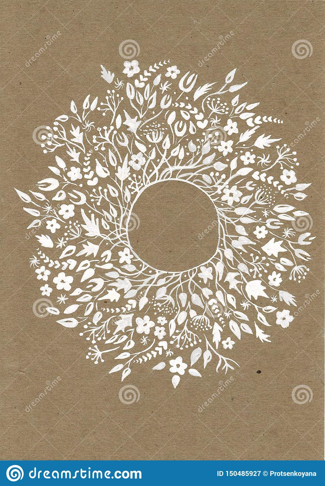 Beautiful greeting card with floral wreath and ribbon. Bright illustration, can be used as creating card, invitation