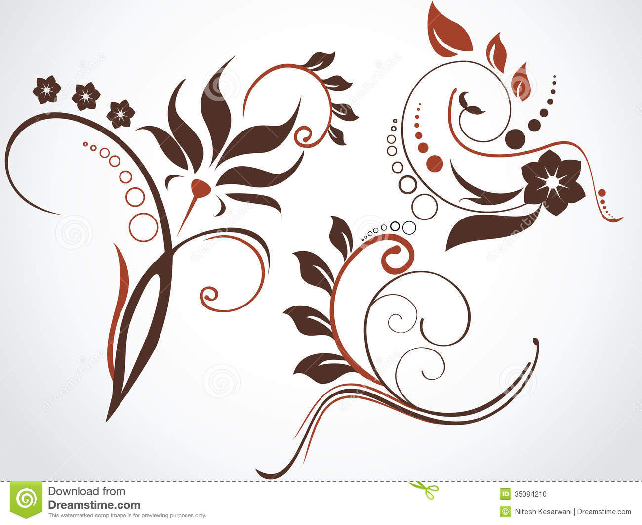 Floral Decorations floral patterns and decorations. stock photo - image: 35084210