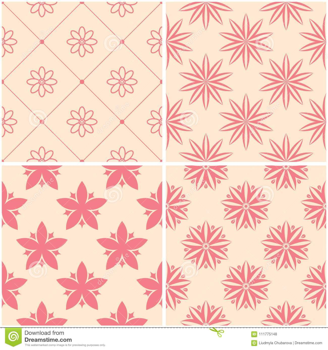 Floral patterns. Set of beige and red seamless backgrounds