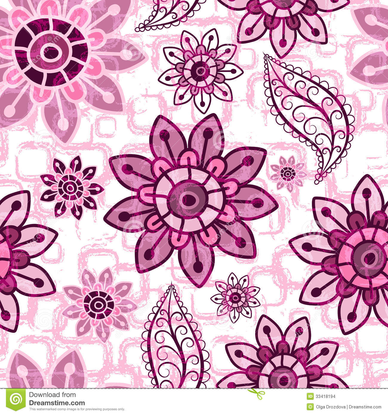 Floral Pink Grunge Seamless Pattern Stock Vector Illustration Of