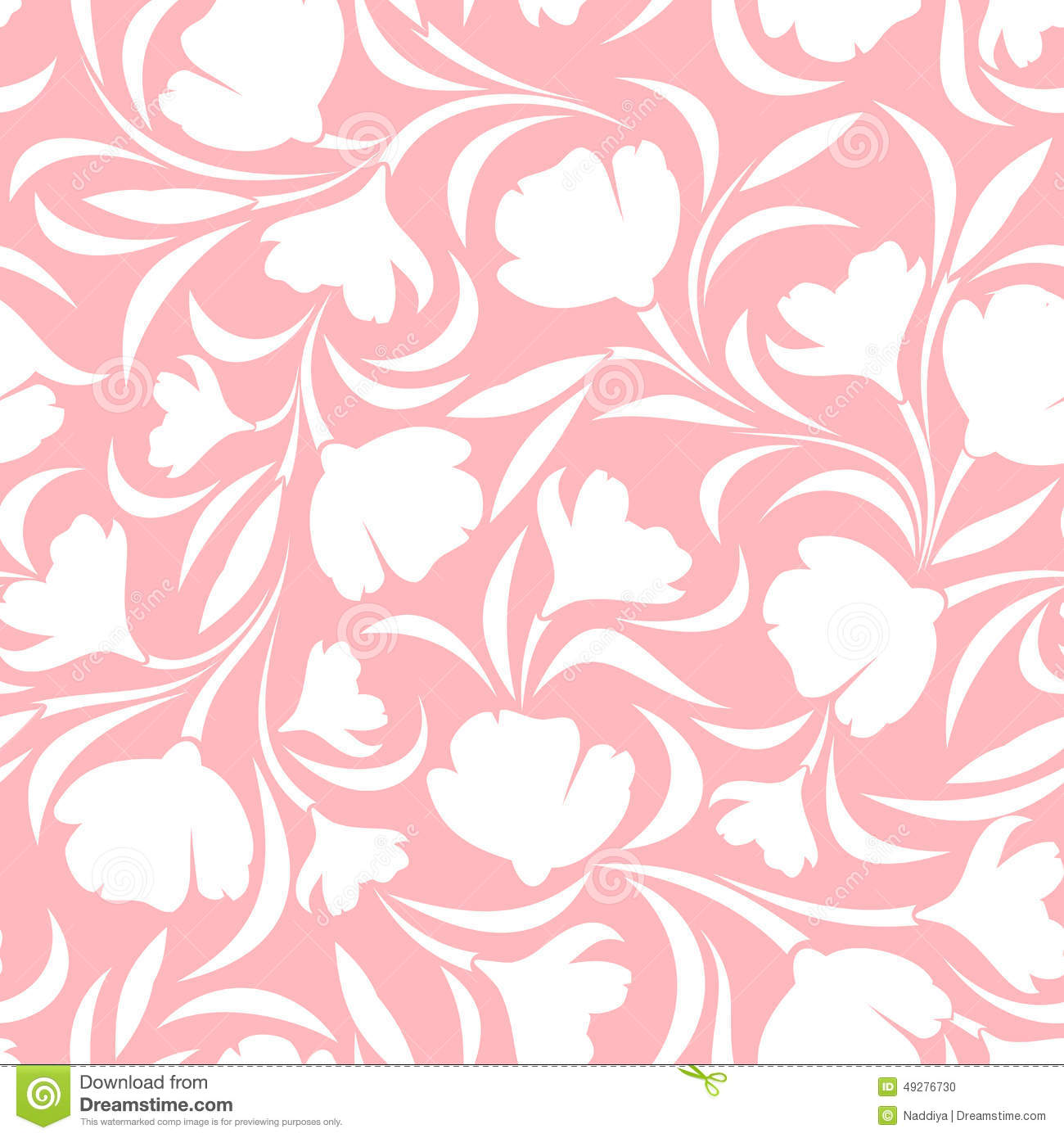 Floral Pink And White Seamless Pattern Vector Illustration Stock