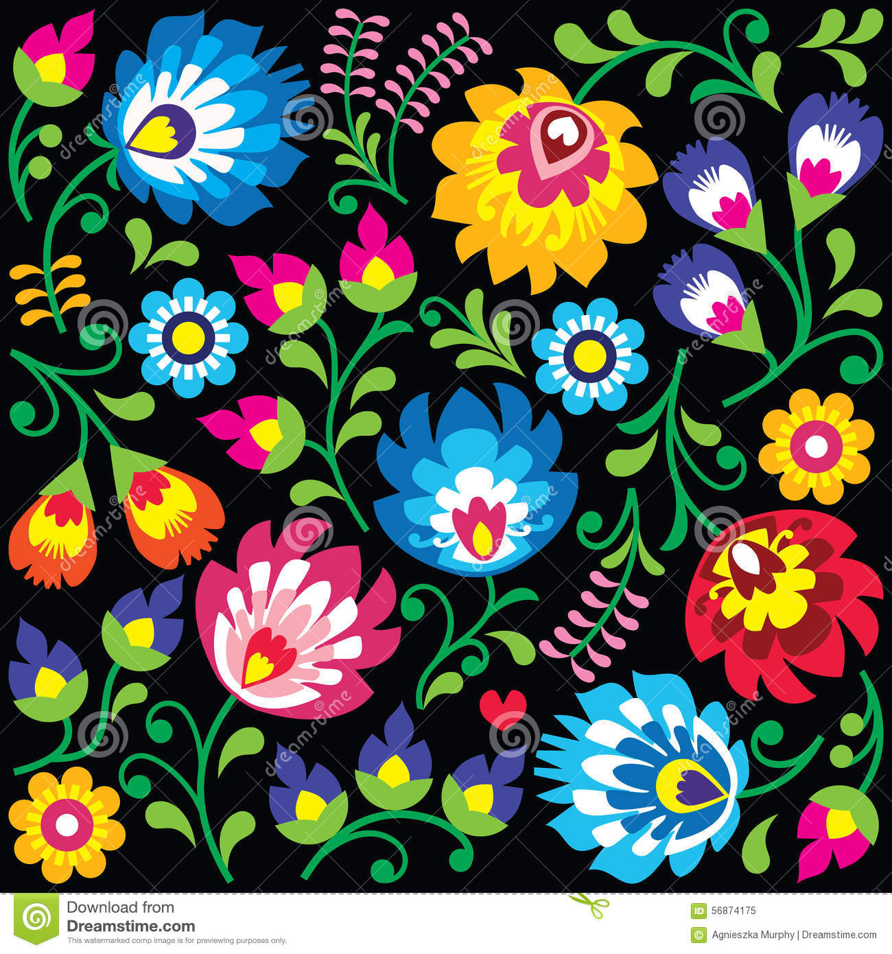 Free embroidery designs cute embroidery designs - Floral Polish Folk Art Pattern On Black Stock Illustration