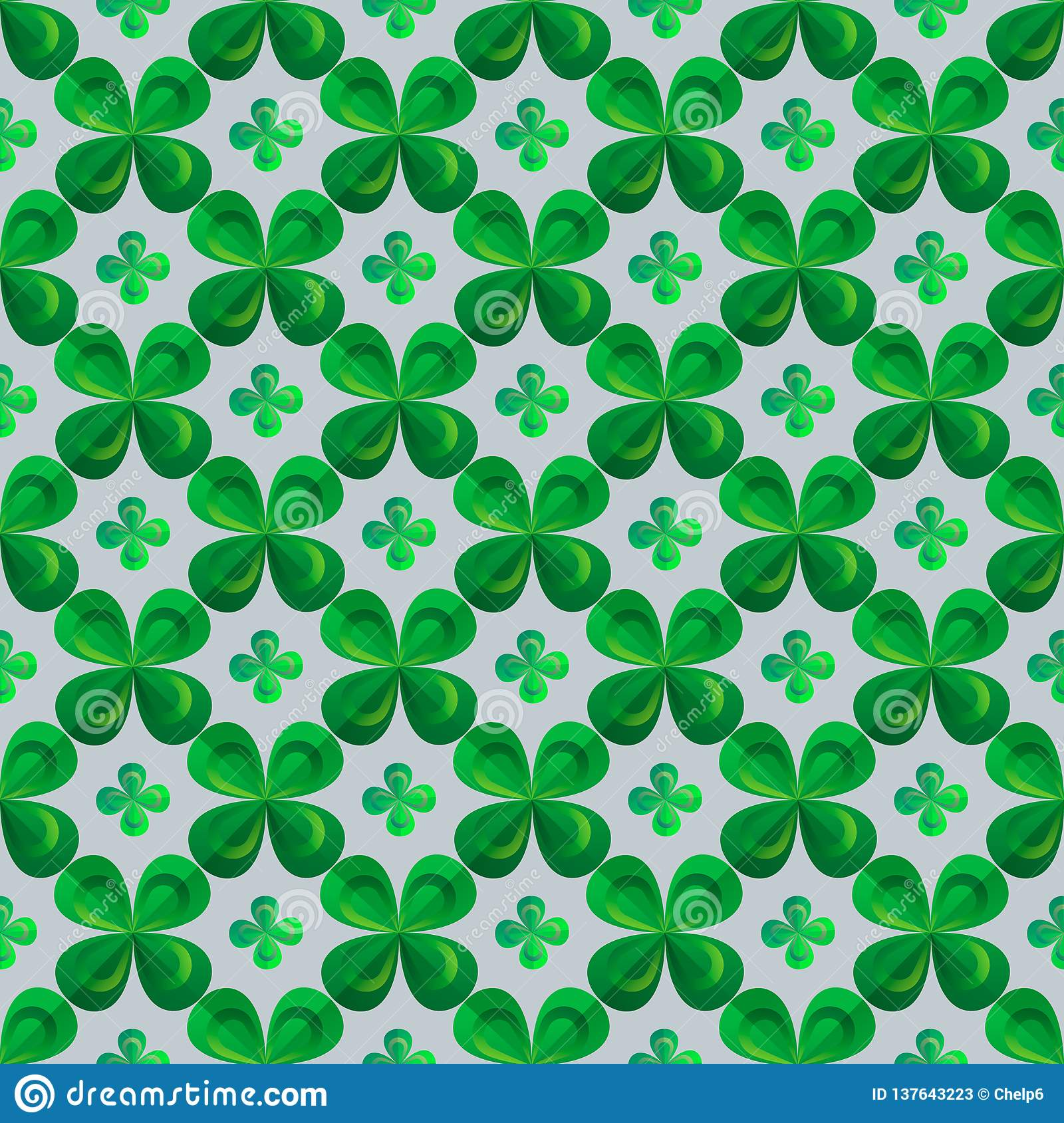 Floral Print Clover Leaves Seamless Vector Pattern St