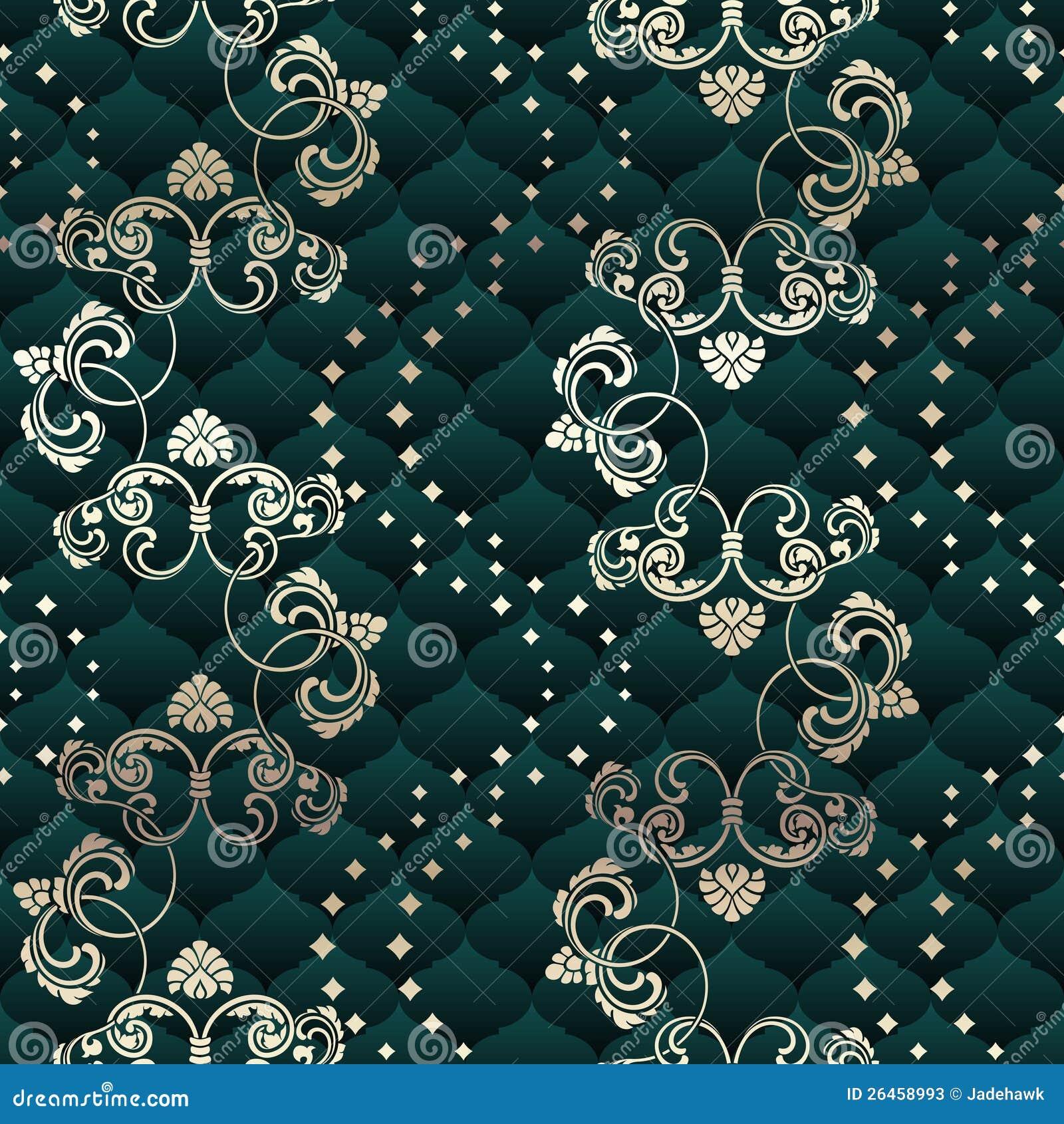 Floral Rococo sans joint en laiton et vert