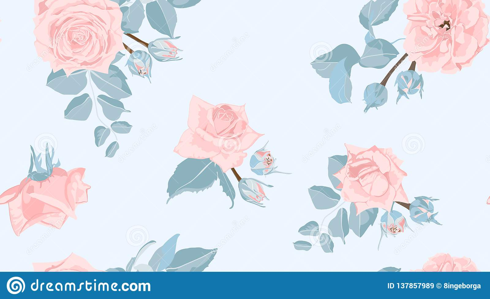 Floral Roses Pattern In Pastel Colors Stock Vector Illustration