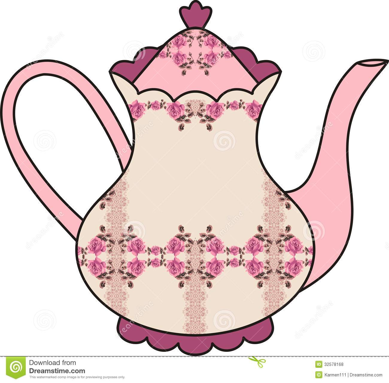 Floral Roses Teapot (time For Tea). Shabby Chic. Royalty Free Stock ...
