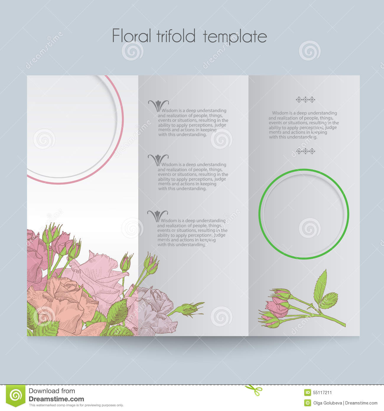 template, tri-fold, mockup for brochure, menu, wedding, birthday card ...